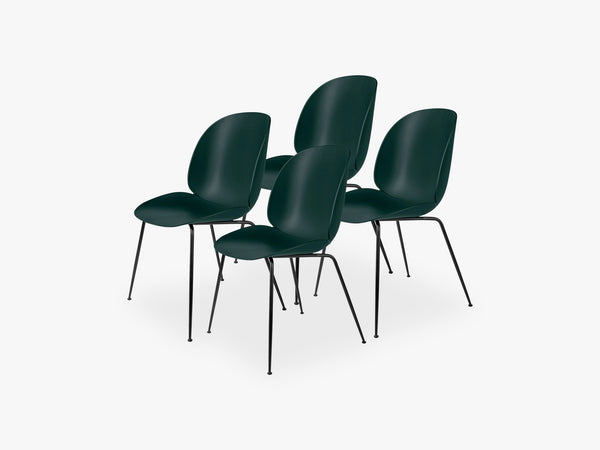 Beetle Dining Chair 4 pcs - Conic Black Matt Base, Dark Green fra GUBI