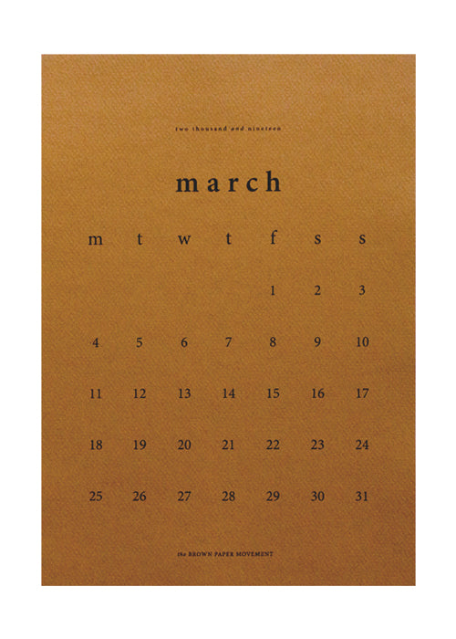 2019 Medium, Limited Edition Kalendar fra the Brown Paper Movement