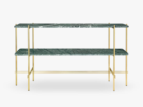 TS Console - 2 rack Brass base, marble green top fra GUBI