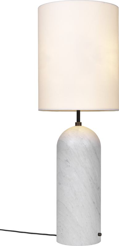 Gravity Floor Lamp - XL Low - White Marble base, White fra GUBI