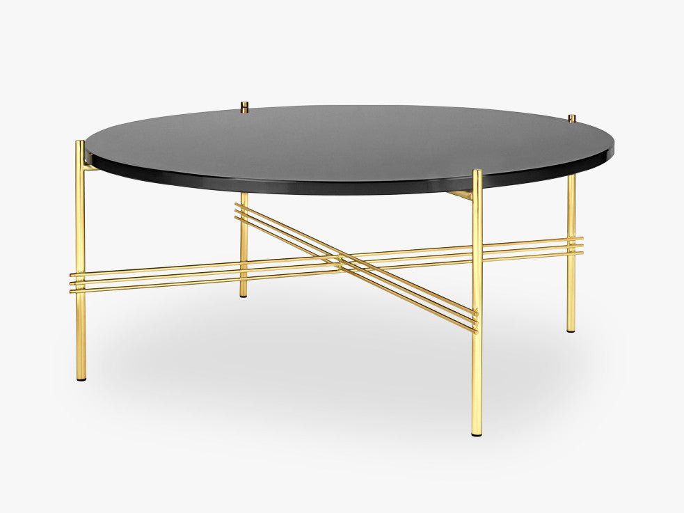 TS Coffee Table - Dia 80 Brass base, glass Graphite Black top fra GUBI