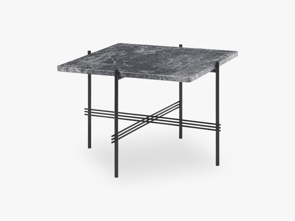 TS Coffee Table Square black base, Marble Grey top 55cm fra GUBI