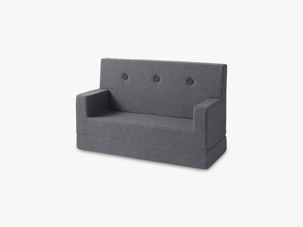 KK Kids Sofa, Blue grey w. grey buttons fra By KlipKlap