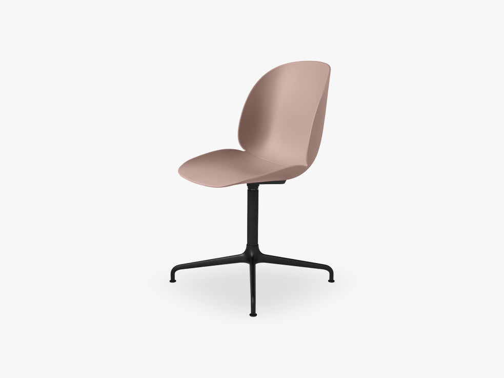 Beetle Meeting chair - Un-upholstered - 4-star swivel Black base, Sweet pink shell