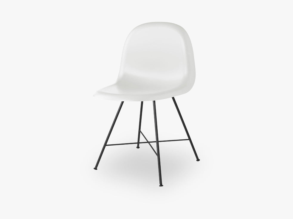 3D Dining Chair - Un-upholstered Center Black base, White Cloud shell fra GUBI