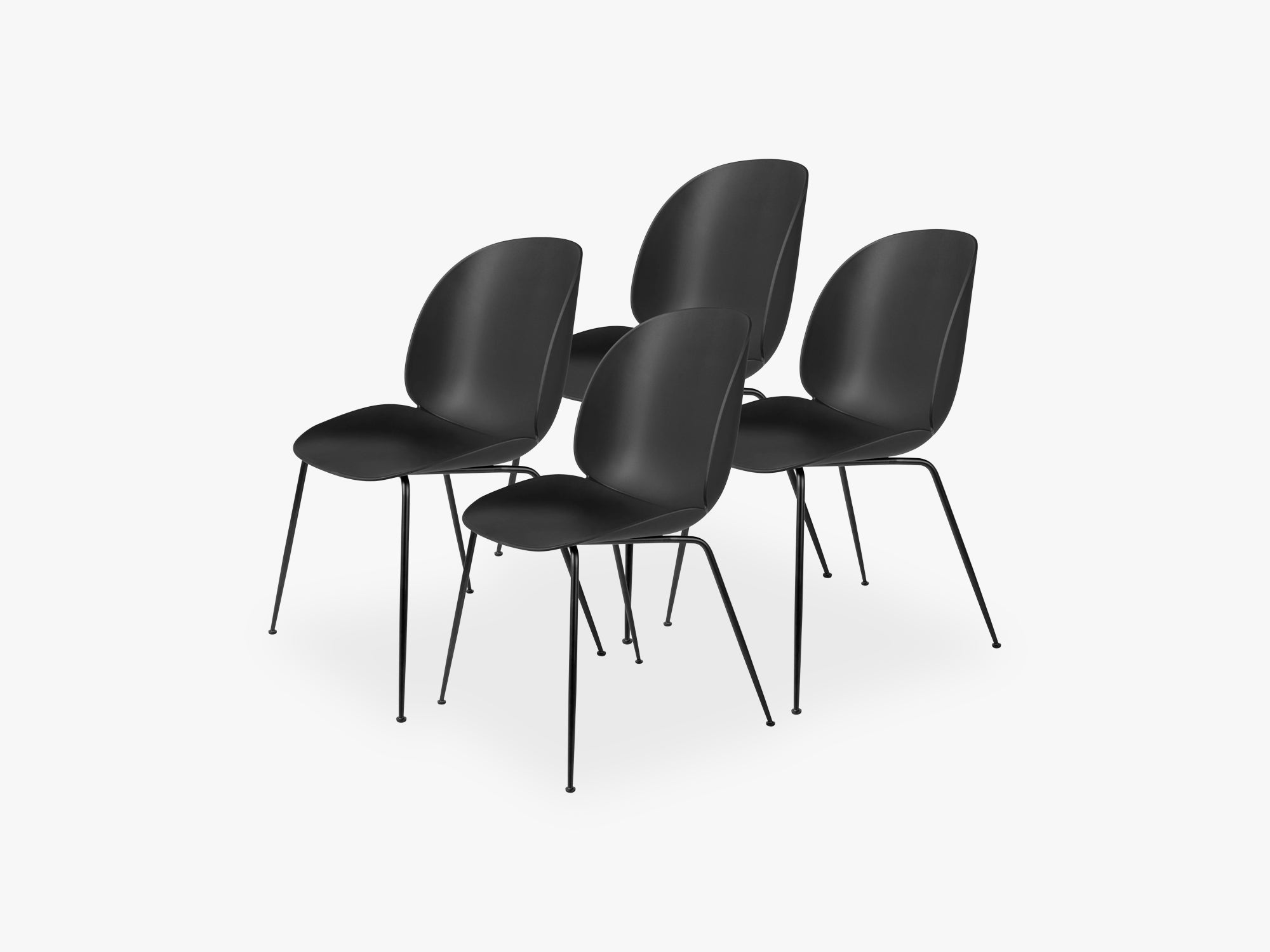 Beetle Dining Chair 4 pcs - Conic Black Matt Base, Black fra GUBI