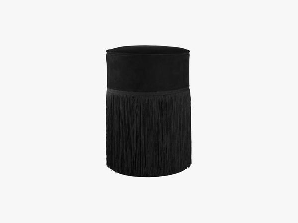 Tall rough suede fringe pouf, Black fra NTER