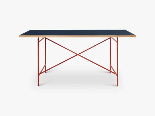 Linoleum Table Top, Dark Blue (Smokey Blue) with Oak Edges fra Egon Eiermann
