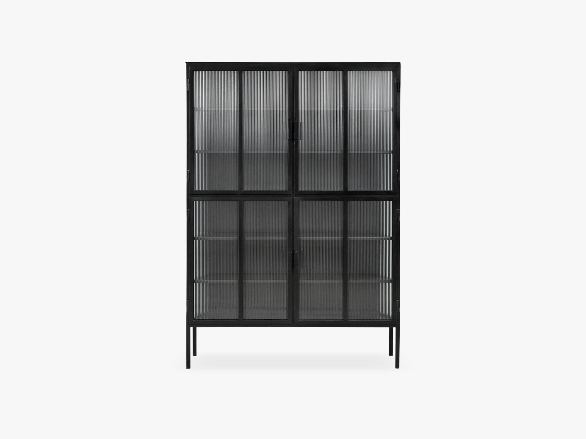 Black cabinet, 4 doors, groovy glass fra Nordal