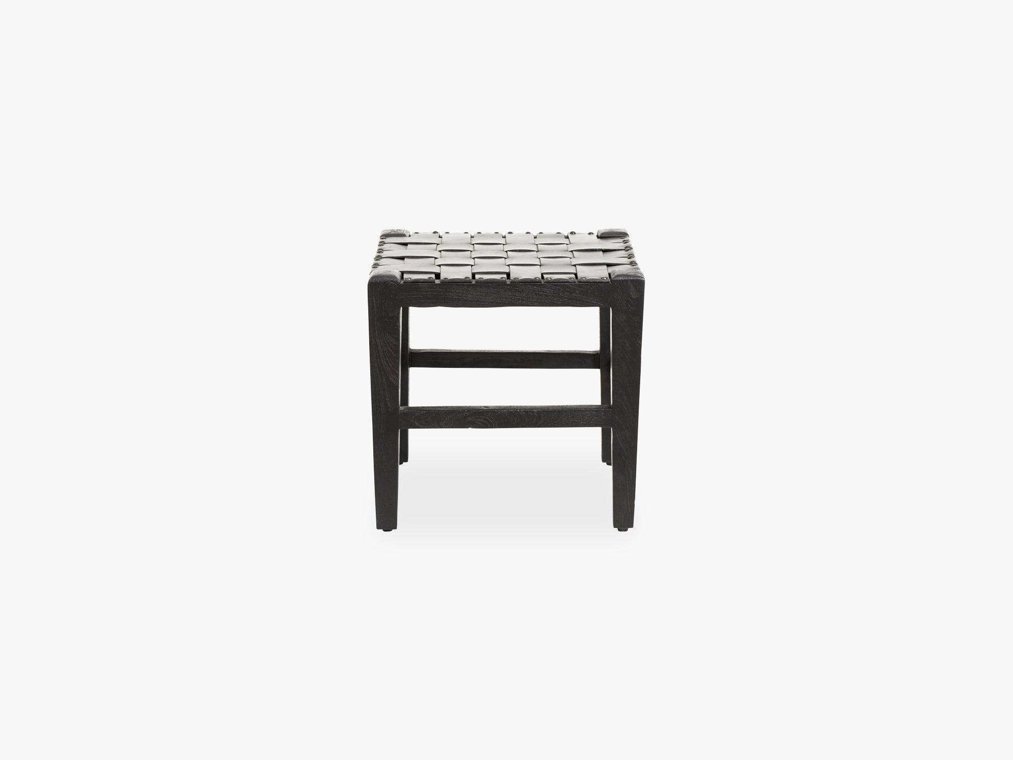 Square stool wood/ black leather fra Nordal