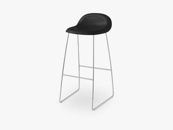3D Bar Stool - Un-upholstered - 75 cm Sledge Crome base, Midnight Black shell fra GUBI