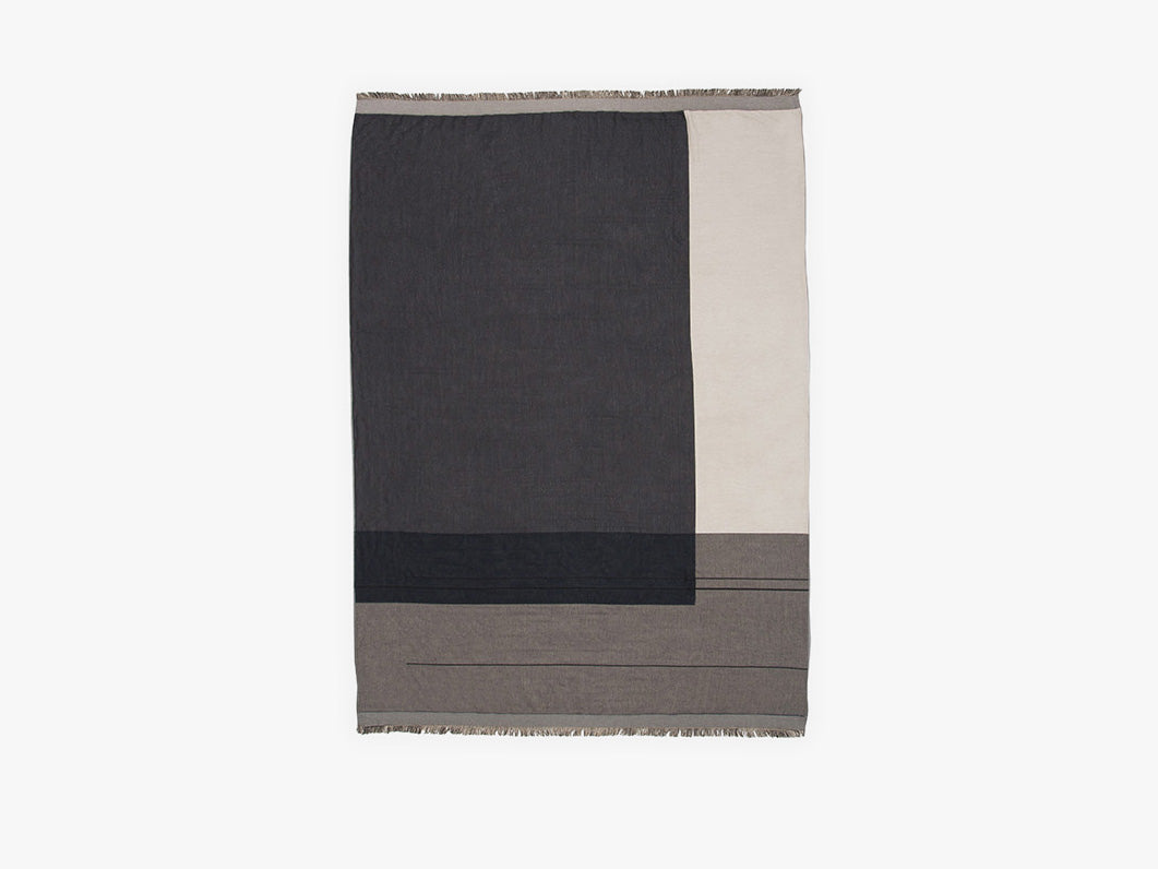 Colour Block Throw/Plaid - Grey fra Ferm Living