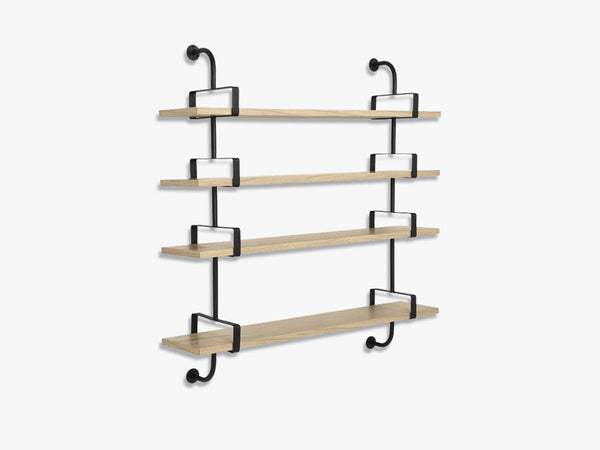 Démon Shelf - 2 Brackets - 95 cm 4 shelves, Oak shell fra GUBI