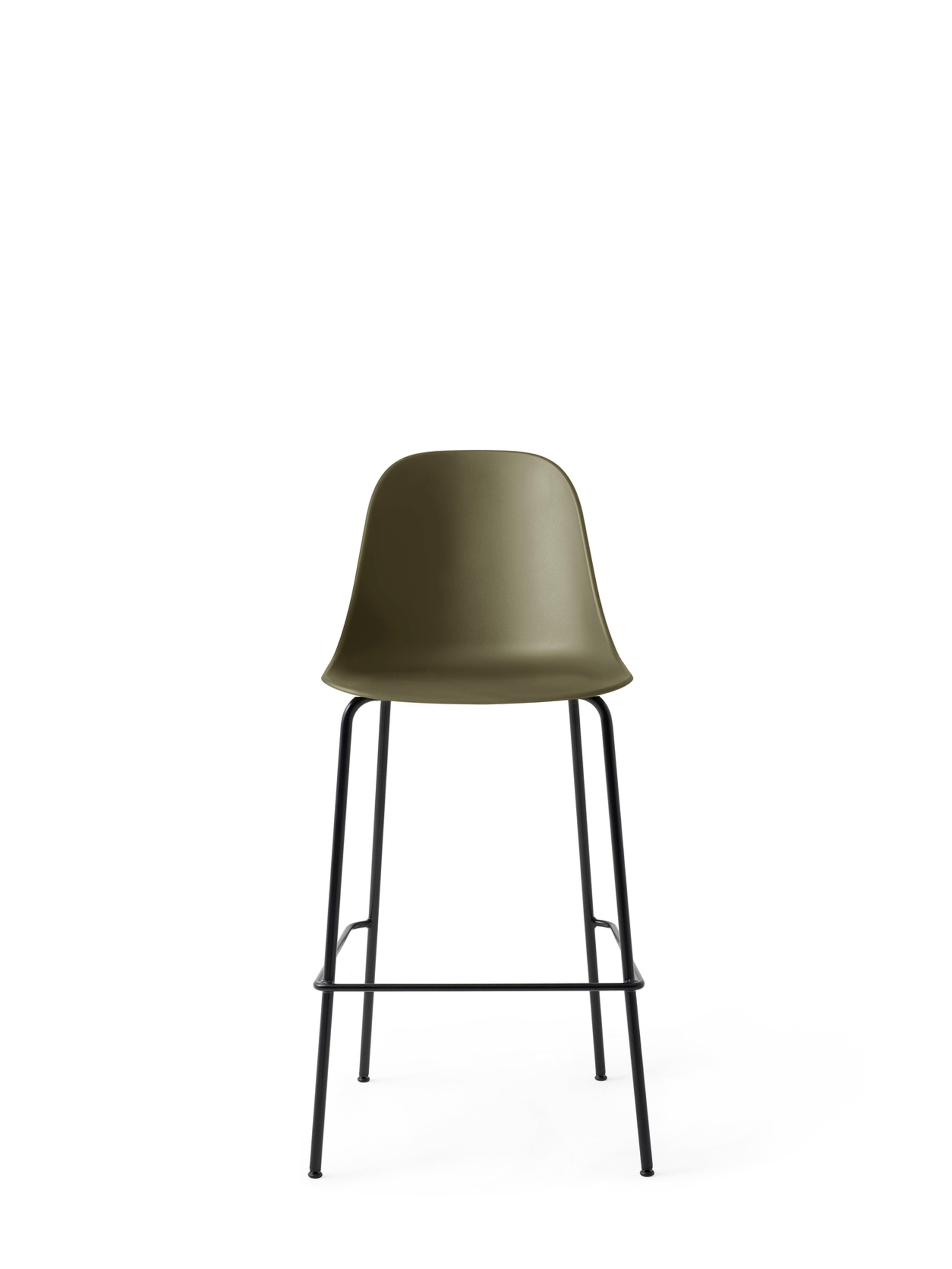 Harbour Side Chair - Bar, Black Steel Base/Olive Shell fra Menu