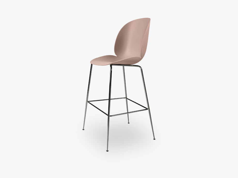 Beetle Bar Chair - Un-upholstered - 74 cm Conic Black Chrome base, Sweet Pink shell fra GUBI