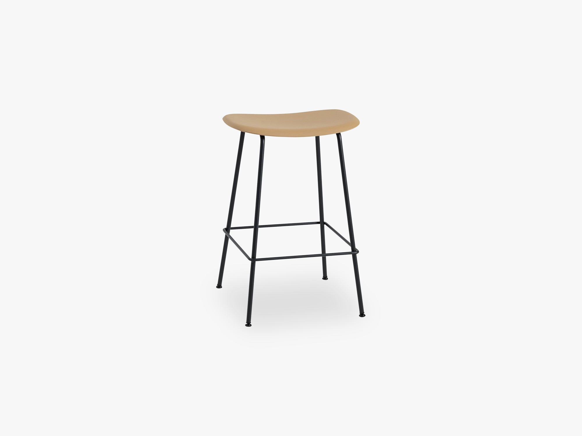Fiber Bar Stool - Tube Base H: 65 Cm, Ochre/Black fra Muuto