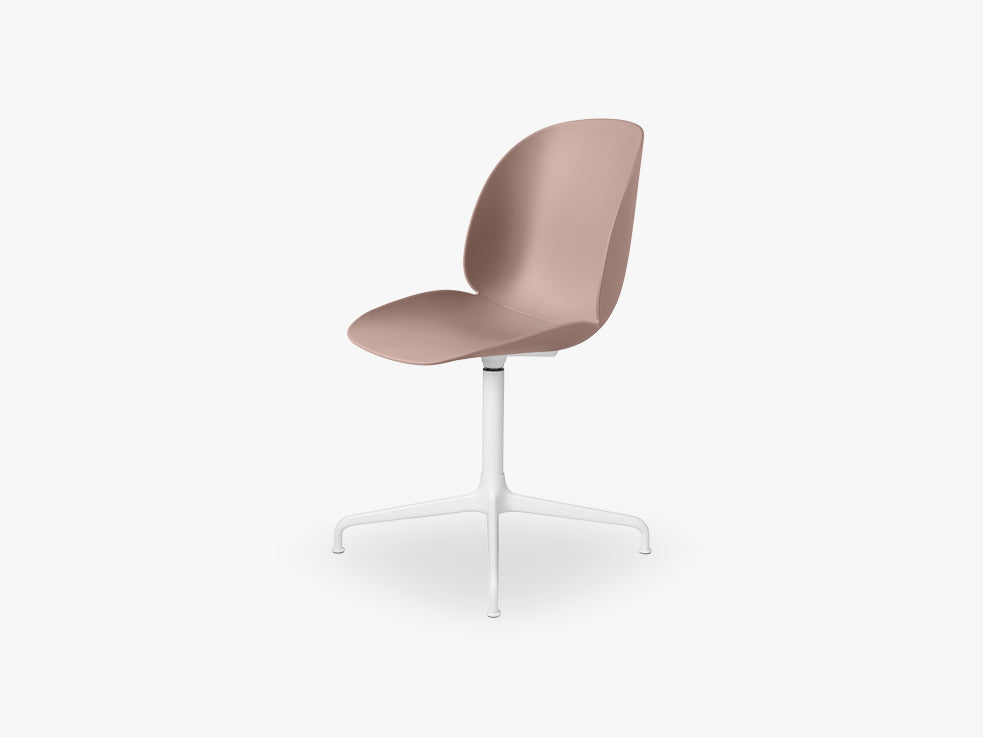 Beetle Meeting chair - Un-upholstered - 4-star swivel White base, Sweet Pink shell