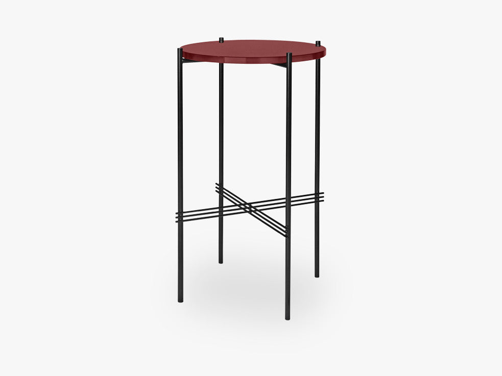 TS Console - Round - Dia 40 Black base, glass vintage red top fra GUBI