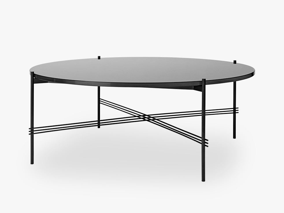 TS Coffee Table - Dia 105 Black base, glass graphite black top fra GUBI