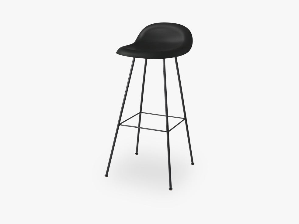 3D Bar Stool - Un-upholstered - 75 cm Center Black base, Midnight Black shell fra GUBI