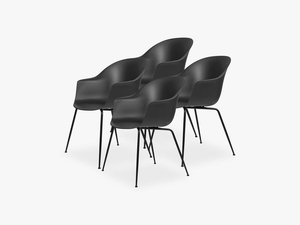 Bat Dining Chair 4 pcs - Conic Black Matt Base, Black fra GUBI