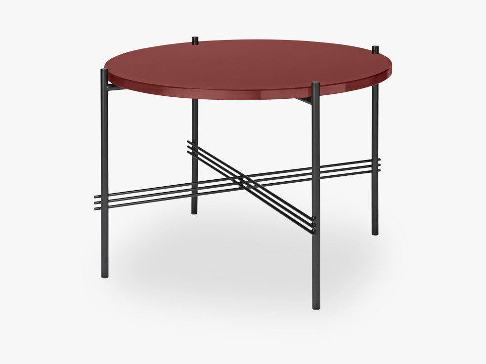 TS Coffee Table - Dia 55 Black base, glass rusty red top fra GUBI