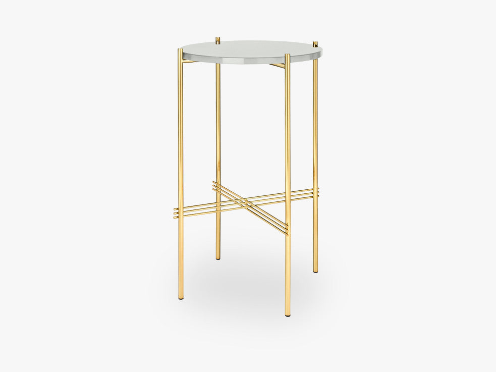 TS Console - Round - Dia 40 Brass base, glass oyster white top fra GUBI