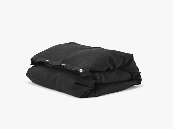Duvet Cover Linen, Jet black single fra Tekla Fabrics