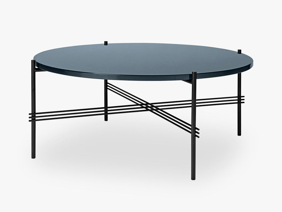 TS Coffee Table - Dia 80 Black base, glass grey blue top fra GUBI