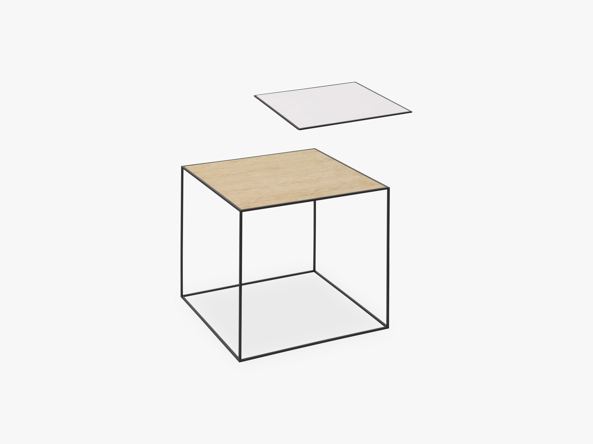 Twin 42 table, black, white/oak fra By Lassen