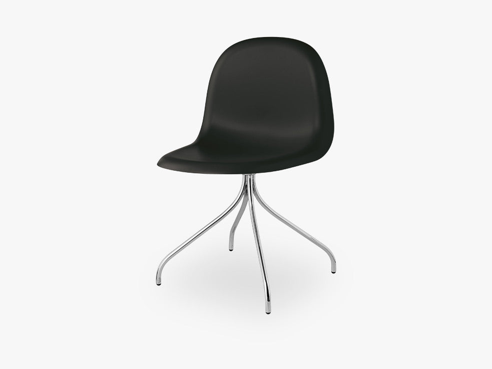 3D Dining Chair - Un-upholstered Swivel Chrome base, Midnight Black shell fra GUBI