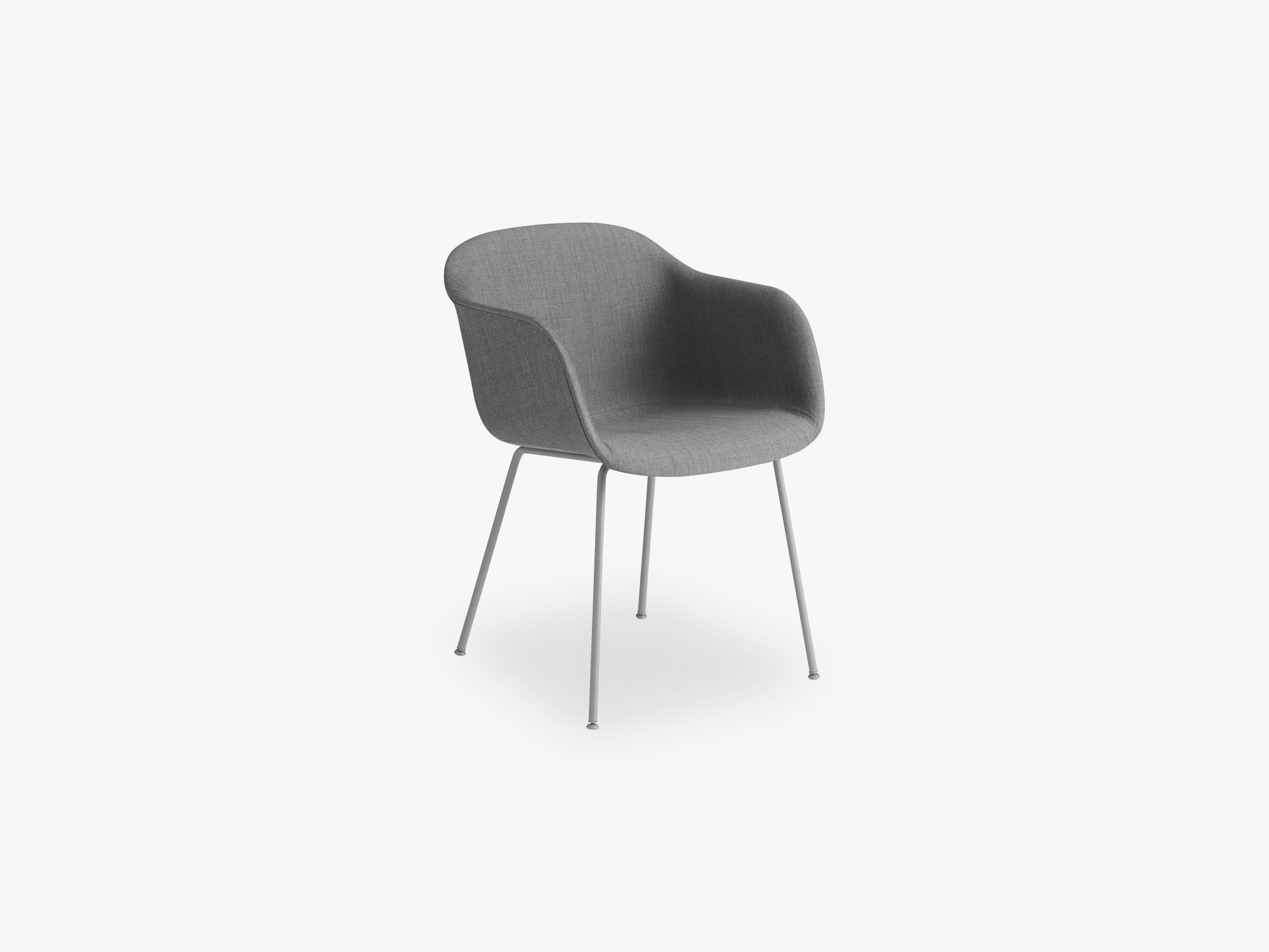 Fiber Armchair - Tube Base - Textile Shell, Remix 133 / Grey fra Muuto