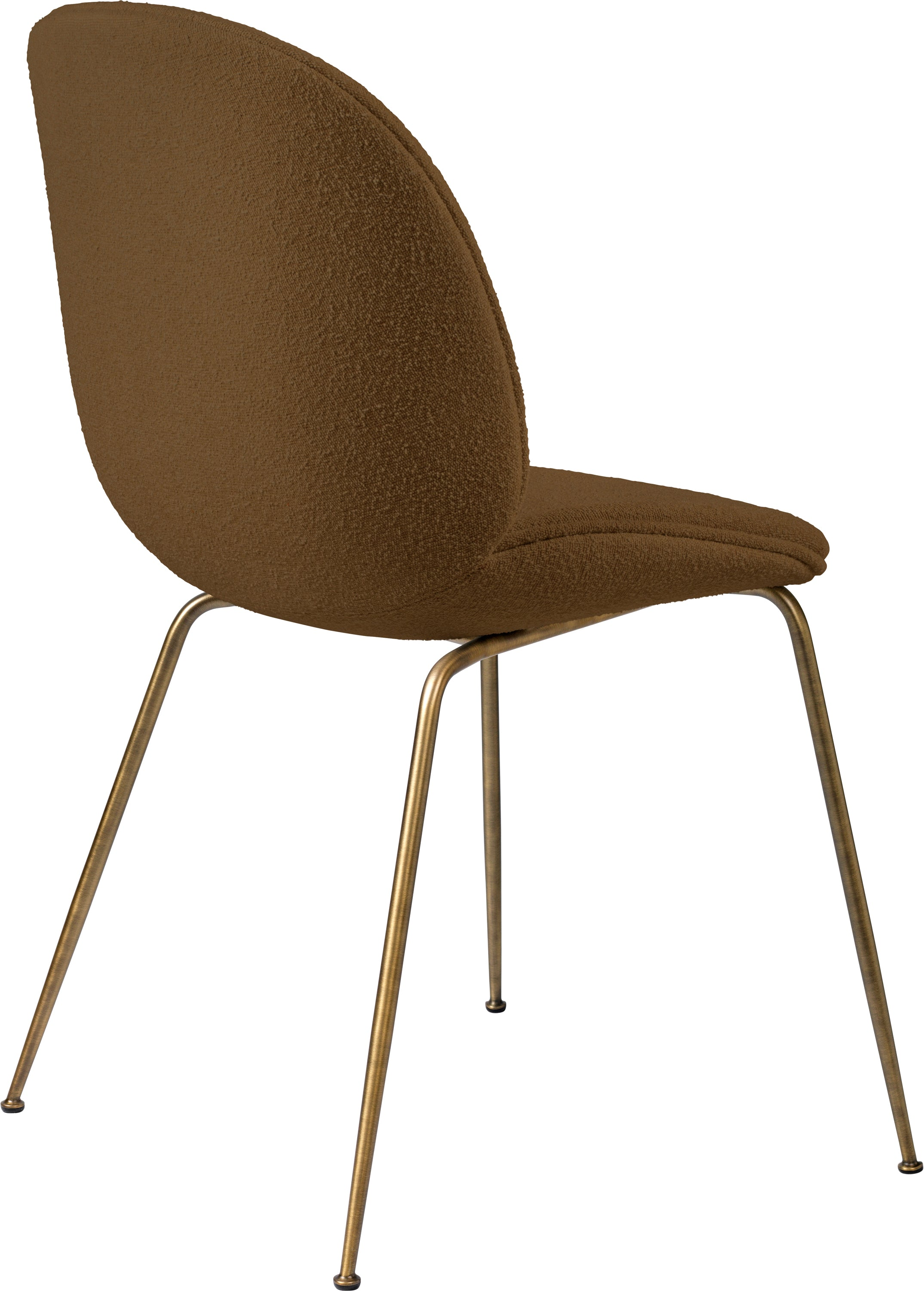 Beetle Dining Chair (Fully), Antique Brass, Grp 02, Light Bouclé, GUBI (006) Light Bouclé fra GUBI