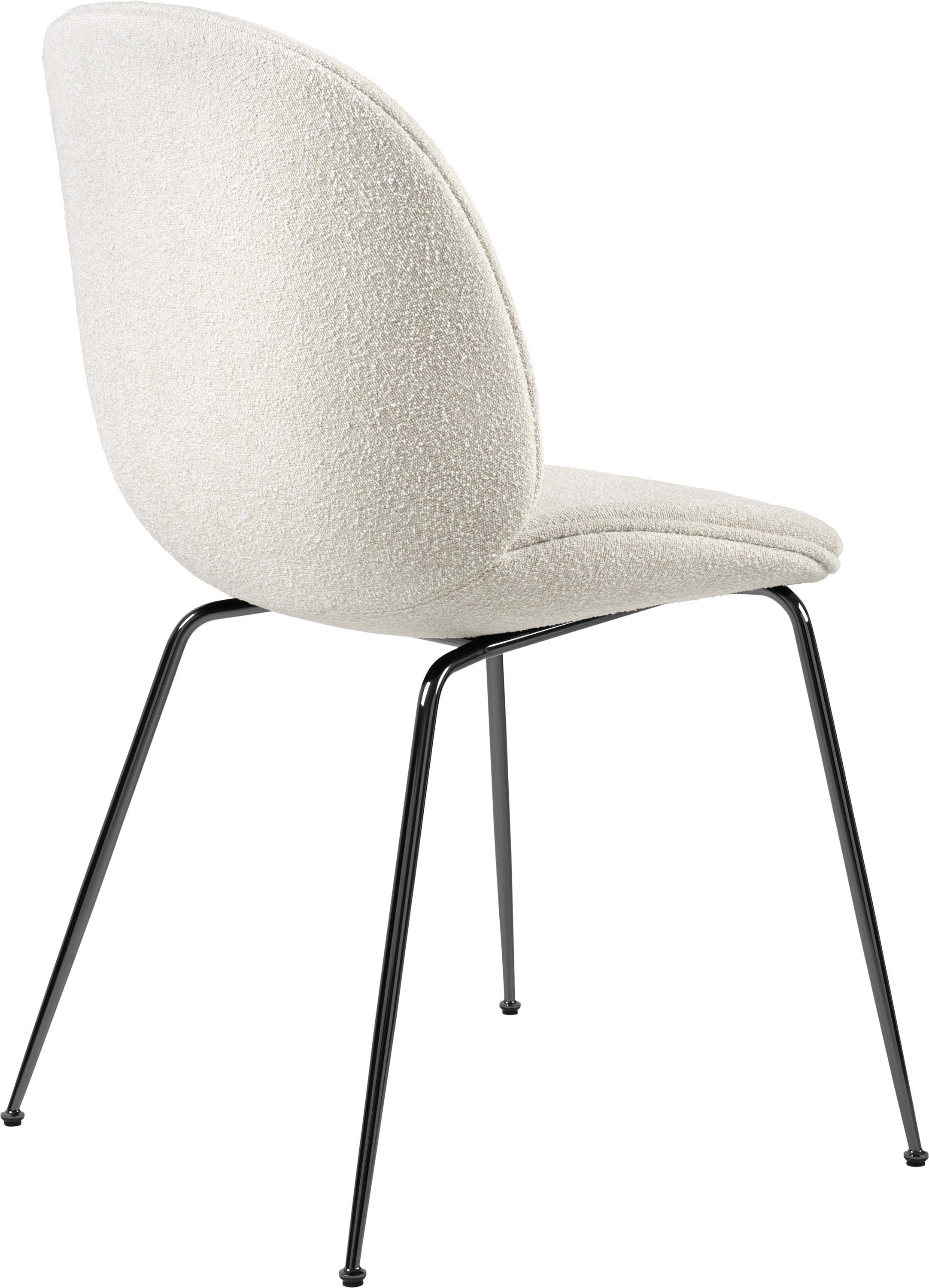 Beetle Dining Chair (Fully), Black Chrome, Grp 02, Light Bouclé, GUBI (001) fra GUBI