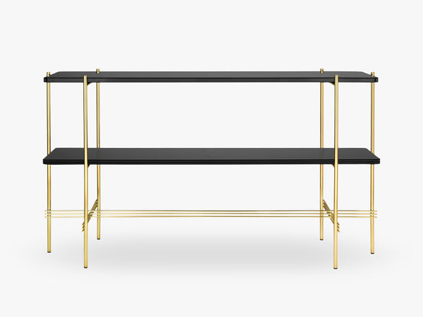 TS Console - 2 rack Brass base, glass Graphite Black top fra GUBI
