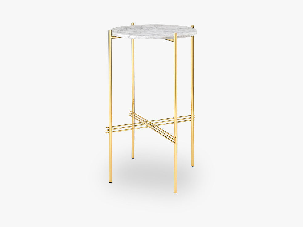 TS Console - Round - Dia 40 Brass base, marble white top fra GUBI