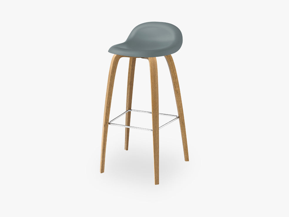 3D Bar Stool - Un-upholstered - 75 cm Oak base, Rainy Grey shell fra GUBI