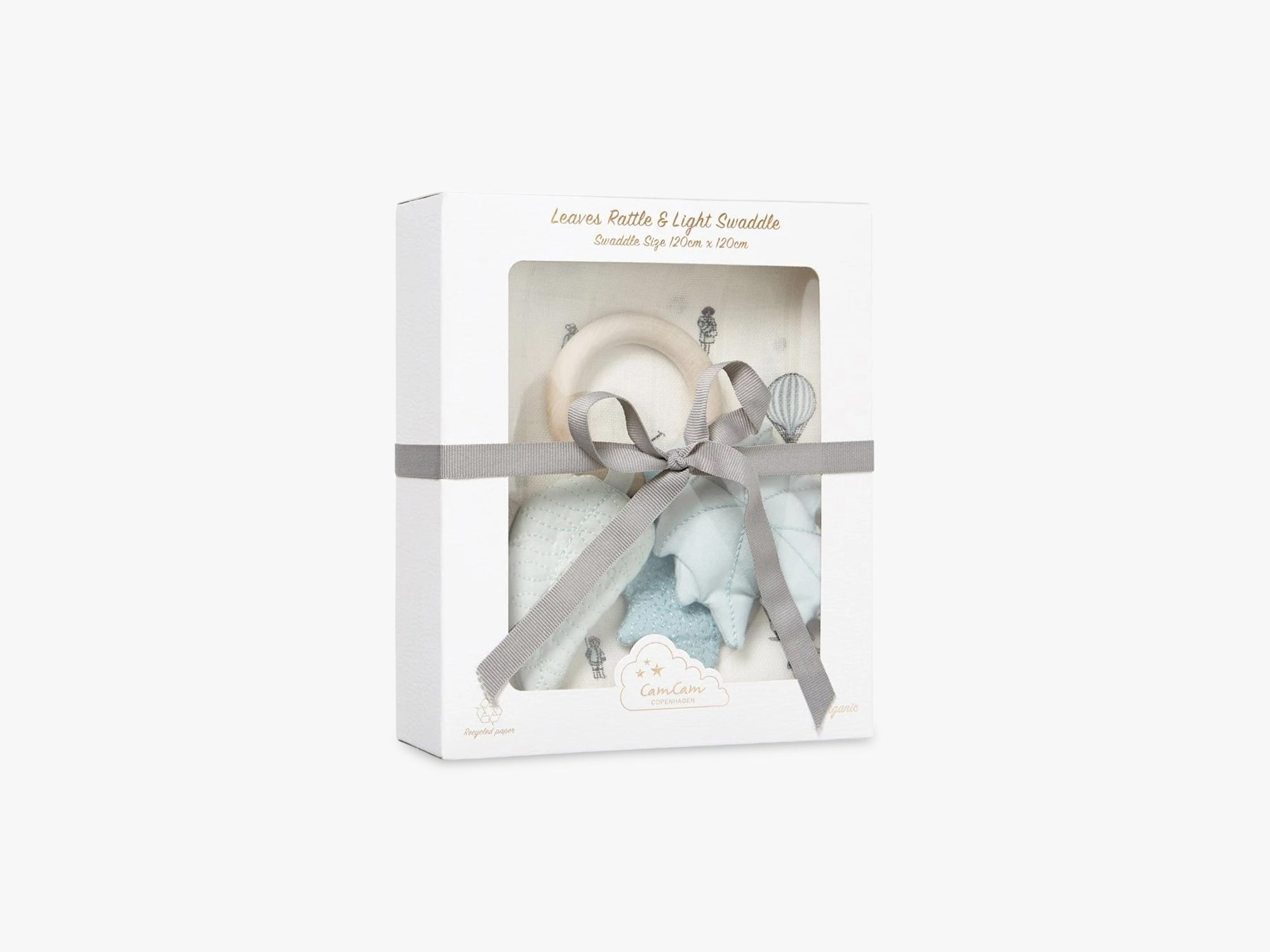 Gift Box w/ Printed Swaddle and Leaves Rattle, Holiday fra Cam Cam Copenhagen
