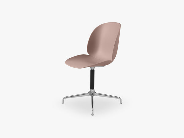 Beetle Meeting chair - Un-upholstered - 4-star swivel Aluminium base, Sweet Pink shel fra GUBI