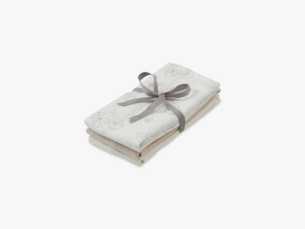 Muslin Cloth Mix 3 Pack - Mix Dandelion Natural, Light Sand, Creme White fra Cam Cam Copenhagen