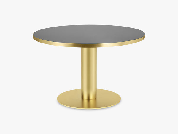 GUBI 2.0 Dining Table - Round - Ø125 - Brass base, Glass Granite Grey top fra GUBI