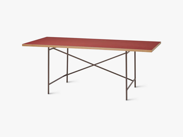 Linoleum Table Top, Red (Salsa) with Oak Edges fra Egon Eiermann