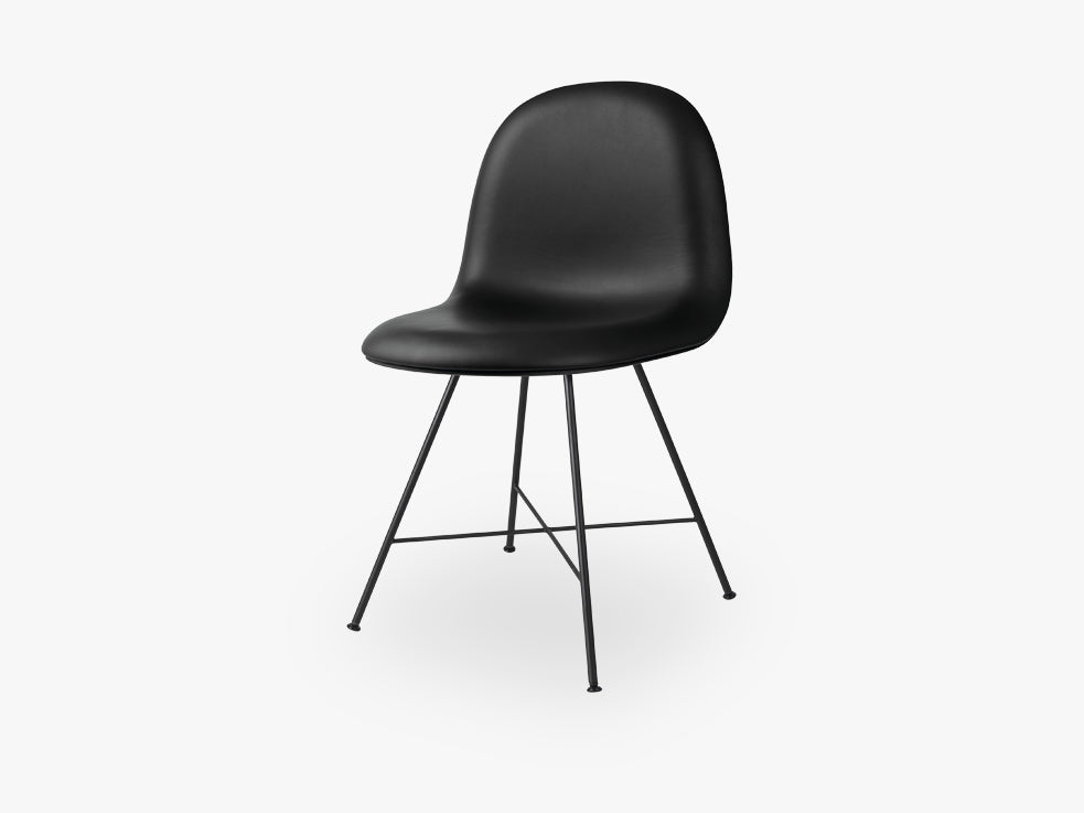 3D Dining Chair - Fully Upholstered - Center Black base, Sierra Black leather fra GUBI