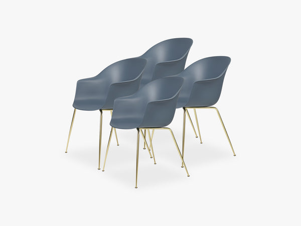 Bat Dining Chair 4 pcs - Conic Brass Semi Matt Base, Smoke Blue fra GUBI