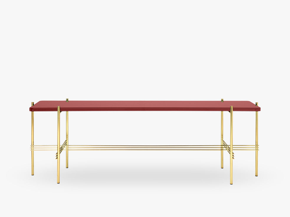 TS Console - 1 rack Brass base, glass rusty red top fra GUBI