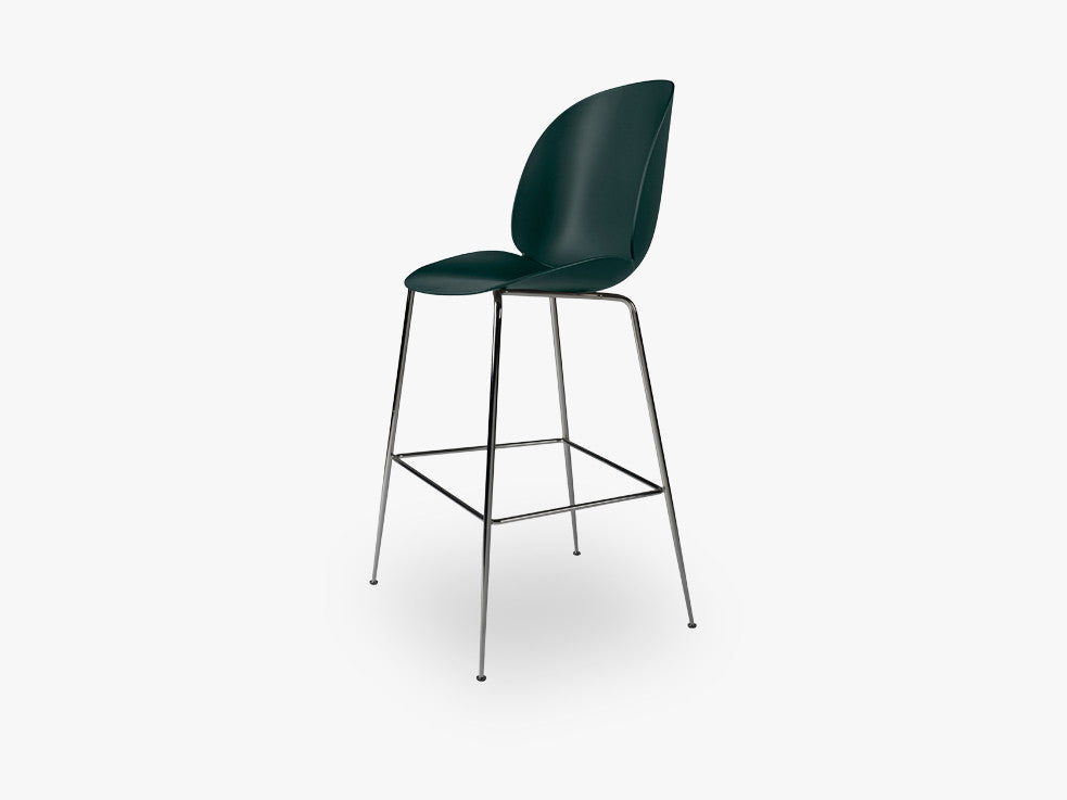 Beetle Bar Chair - Un-upholstered - 74 cm Conic Black Chrome base, Green shell fra GUBI