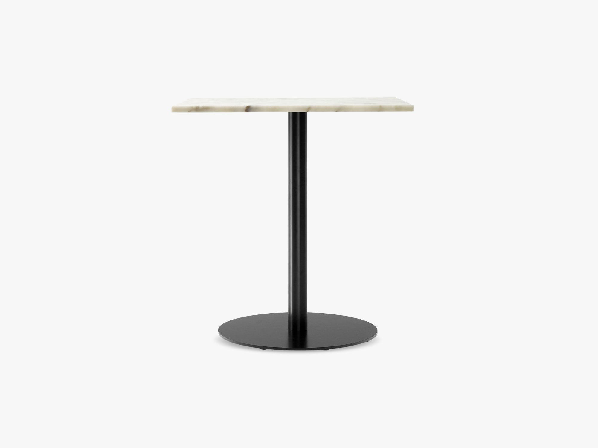 Harbour Column Dining Table 60x70 - Off White Marble Tabletop with Black Base fra Menu