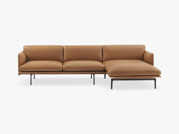 Outline Sofa - Chaise Longue - Right, Silk Leather - Cognac fra Muuto