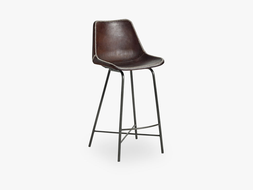 Bar chair, leather, w/iron legs, dbrown fra Nordal