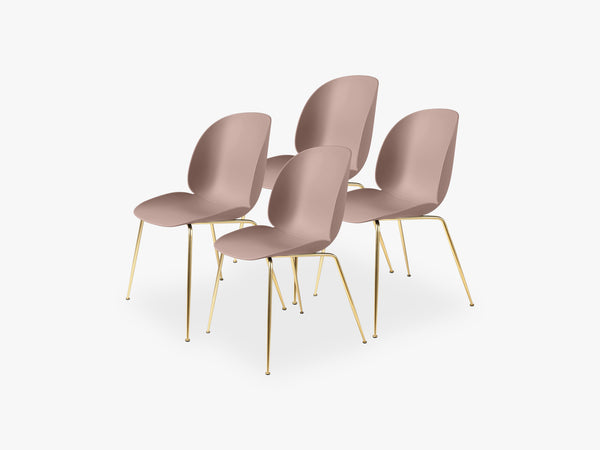 Beetle Dining Chair 4 pcs - Conic Brass Semi Matt Base, Sweet Pink fra GUBI